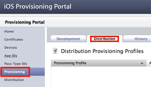 Distribution Provisioning Profile