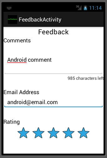 Android Feedback Filled out