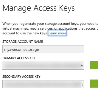 Storage account key and name