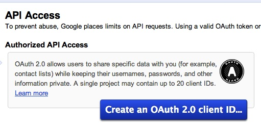 Google OAuth Client creation