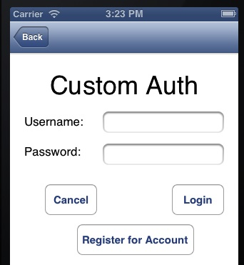 Custom auth login page iOS