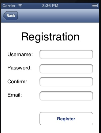 Register account view