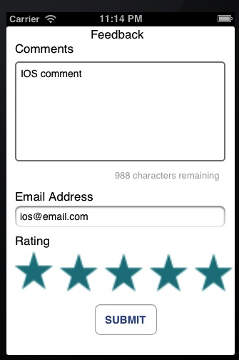 iOS Feedback filled out