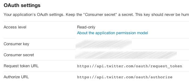Twitter app keys